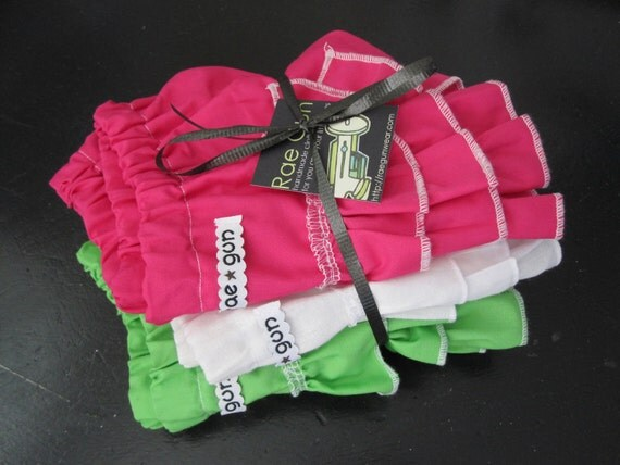 3 Solid Color - ruffle diaper covers (chose your color) - Girl- Bloomers - Photo prop