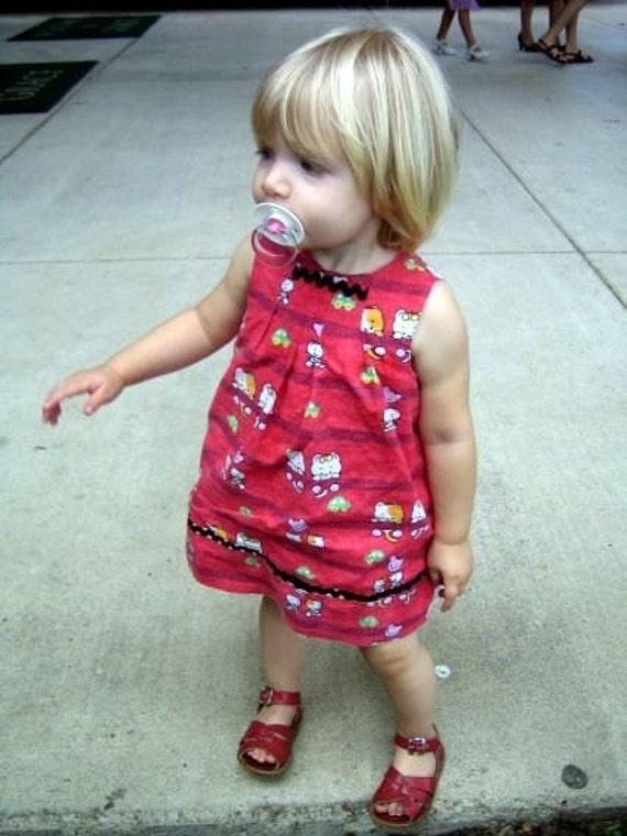 Peek-a-boo Dress - Red Kitties