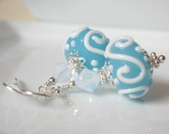 Blue Hawaii  Lampwork earrings in sterling silver