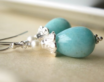 Blue Mist Peruvian amazonite pearl and sterling silver earrings