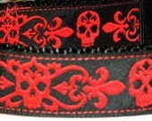 Red Skull Nouveau -Skulls and Fleur de Lis - Pet Collar by Punky Woofster