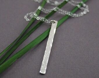 Silver bar necklce - Sterling Silver Hammered Bar Necklace