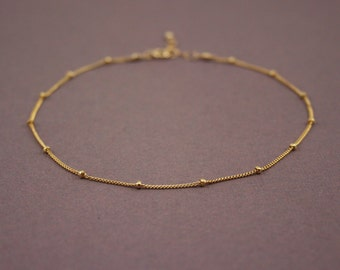 Gold Anklet, Delicate Anklet Bracelet, Beaded Gold Chain Anklet, 14k gold filled anklet
