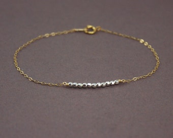 Row of Silver Beads Gold Bracelet, Two Tone Bracelet, Delicate Gold Filled and Sterling Silver Bracelet