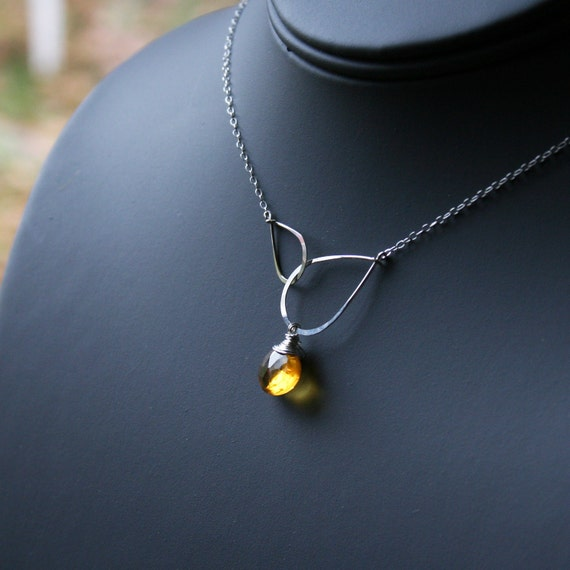 November Birthstone - Infinity Eternity Necklace with Yellow Citrine Faceted Heart Briolette - Streling Silver Necklace