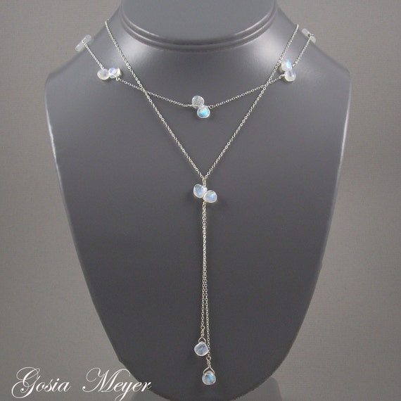 Moonstone Teardrops Double Sterling Silver Necklace
