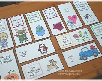 School Year Holidays & Seasons Lunch Box Love Notes 5b, Lunch Notes, Lunch Notes for Kids