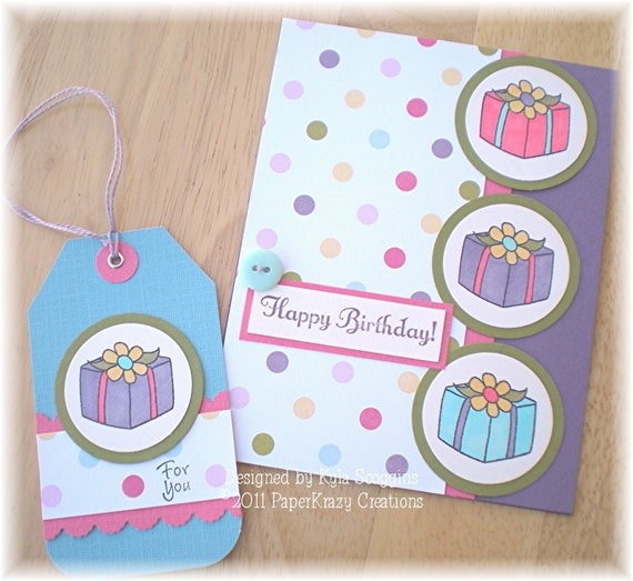 Happy Birthday Greeting Card and Gift Tag Set