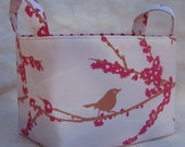Reversible Organizer Fabric Bin Basket - Sparrows - Light Pink Aviary