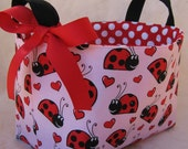 Reversible Fabric Organizer Bin - Red and Black Ladybugs with Hearts