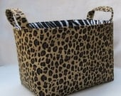 Fabric Organizer Storage Container Bin - Leopard - Cheetah with Zebra