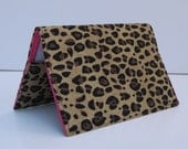 Fabric Passport Holder Cover Case - Cheetah - Leopard Print