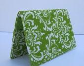 Fabric Passport Case Cover - Apple Green - White Damask