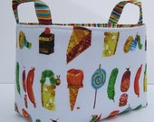 Storage and Organization - Fabric Container Organizer Bin Basket - Made with Licensed Very Hungry Caterpillar - Treats Fabric