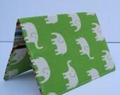 Passport Fabric Case Cover Holder - Cream Elephants on Lime Green