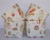 Mini Fabric Organizer Storage Container Bins - Spotted Owls on Cream - Set of 4