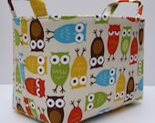 Storage and Organization - Fabric Organizer Container Bin Basket - Urban Zoologie -  Owls Bermuda