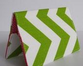 Passport Fabric Cover Case - Chartreuse Green and White Chevron - Zig Zag