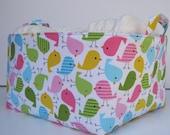 Xlarge Diaper Caddy - Fabric Organizer Storage Bin Basket - with Dividers - Spring Birds