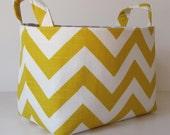 Storage and Organization - Desk Organizer Fabric Container Basket Bin - Corn Yellow and White Slub Chevron