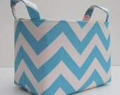 Fabric Desk Organizer Storage Container Basket Bin - Turquoise Blue and White Chevron