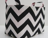 Fabric Organizer Bin Storage Container Basket  - Black and White Chevron - BaffinBags