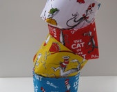 Mini Fabric Storage Organizer Bins Baskets - Made with Licensed Dr. Seuss - Cat in the Hat Fabrics  - Set of 4