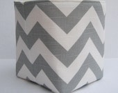 Storage and Organization - Mini Fabric Container Organizer Bin- Gray/ White Chevron