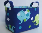 Fabric Organizer Storage Bin Container Basket - Dot Dot Elephant