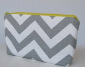 Fabric Zippered Pouch Clutch Bag - Gray / White Chevron Fabric