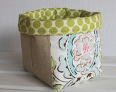 Storage and Organization - Mini Fabric Basket Container Organizer Bin- Leanika Maison Damask and Linen Fabrics