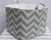 Fabric Organizer Bin Toy Storage Container Basket - Village Blue / Natural Chevron  - 10 x 10 x 10