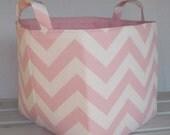 Fabric Organizer Bin Toy Storage Container Basket - Light Pink/ White Chevron  - 8 x 8 x 8
