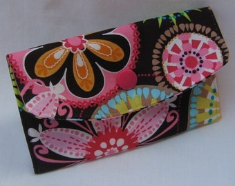 Mini Wallet - Gift Card Holder - Debit Credit Card Case - Business Card Case - Snap Closure  - Carnival Bloom Fabric
