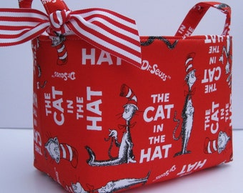 Storage Organization -  Made with Licensed Dr. Seuss Fabric - Fabric Container Organizer Bin Basket - Cat in the Hat - Book Cover Red