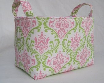 Fabric Storage Container Organizer Bin - Candy Pink and Apple Green Damask