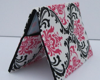 Passport Cover Case Travel Holder - Dark Pink - Black - White Damask