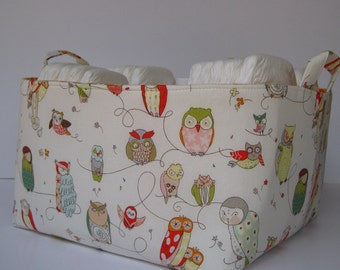 XLarge Diaper Caddy - Storage Container Organizer Bin Basket - Cream Spotted Owl Fabric
