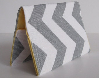 Passport Holder Cover Case - Gray and White Chevron - Zig Zag