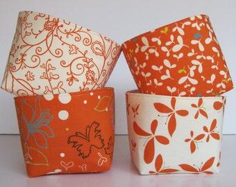 Mini Size Fabric Storage Container Organizer Bins - Set of 4 - Moda Chrysalis by Sanae - Orange Spice Cream - Fall Autumn Decor Thanksgiving