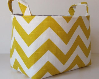 Storage and Organization - Desk Organizer Fabric Container Basket Bin - Corn Yellow and White Slub Chevron