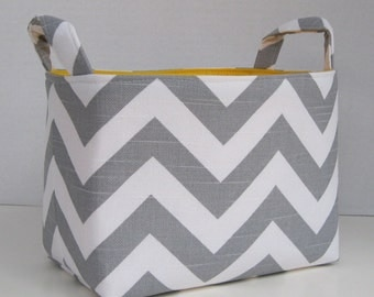 Storage Basket Desk Organizer Container Basket Bin - Gray White Chevron Zigzag Fabric - Choose the Inside/ Lining Fabric