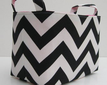 Fabric Organizer Bin Storage Container Basket  - Black and White Chevron Fabric