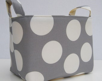 Fabric Basket Organizer Bin Storage Container - Gray with Large White Dots