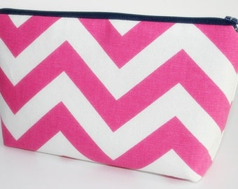Fabric Zippered Pouch Clutch Bag - Dark Pink and White Slub Chevron