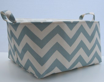 READY TO SHIP - Storage Organziation Diaper Caddy  - Fabric Container Organizer Bin Basket Storage - Village Blue Chevron