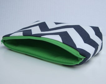 Fabric Zippered Pouch Clutch Bag  - Navy Blue and White Chevron - Green