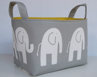 Storage Fabric Organizer Bin Container Basket - Ele Elephant - White on Gray