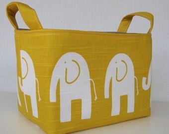 Storage and Organization Fabric Organizer Bin Container Basket - Ele Elephant - White on Yellow - Nursery Decor - Baby Room Decor
