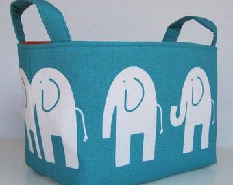Storage and Organnization Fabric Basket Organizer Bin Container - Ele Elephant - White on Turquoise Blue